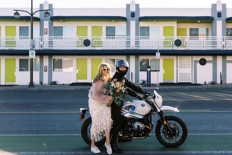 FUN IDEAS FOR YOUR DOWNTOWN LAS VEGAS ELOPEMENT with KRISTEN KAY PHOTOGRAPHY - rent a motorcycle for a quick ride and some photos | #elopement #downtown #lasvegas #bmw #bike #motorcycle