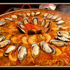 Paella in a plaza cafe during carnival Tenerife, Feb 2012