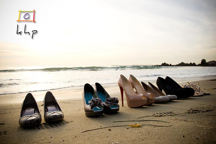 High heels on the beach
