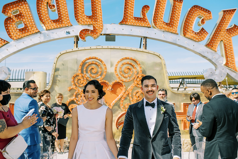 Lady Luck Neon Museum micro wedding in Las Vegas - Peachy Keen Unions - Kristen Kay Photography - Photo and Super 8 Video