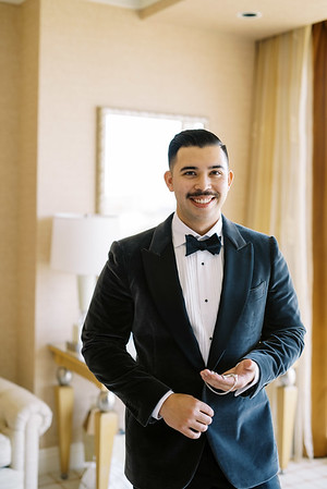 dark grey velvet suit for groom - velvet suit and bowtie for a vintage-inspired wedding day in Las Vegas - Kristen Kay Photography - Photo and Super 8 Video