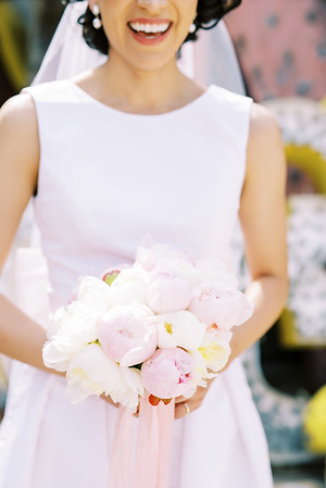 small pink and white peony bouquet by City Blossoms Las Vegas - vintage-inspired small round bouquet - Kristen Kay Photography - Photo and Super 8 Video