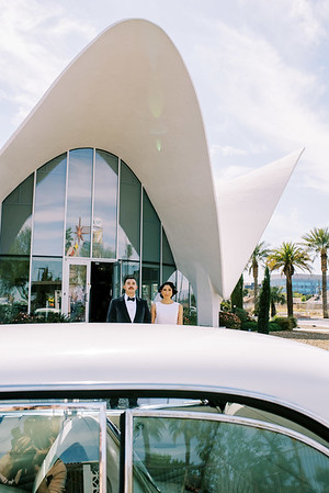 Neon Museum Las Vegas Wedding Venue - Elvis Cadillac - vintage-inspired micro wedding - Kristen Kay Photography - Photo and Super 8 Video