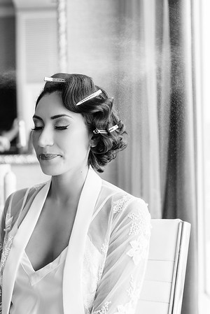 vintage wedding hairstyle - retro-inspired hair and make-up for an intimate wedding at the Neon Museum in Las Vegas - Kristen Kay Photography - Photo and Super 8 Video