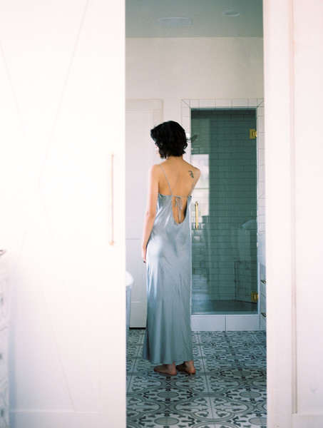 farmhouse modern bathroom inspiration // bridal boudoir in-home lifestyle session | Kristen Krehbiel - Kristen Kay Photography - Southern California Lifestyle Photographer | Belle Lumiere & Amber Reverie
