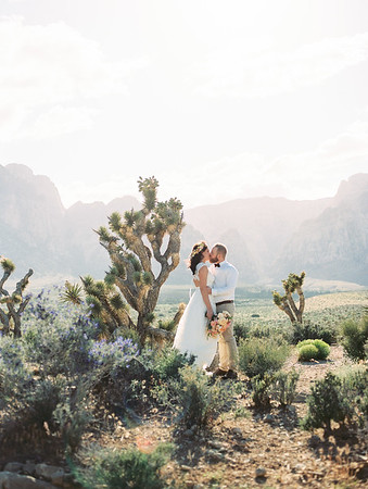 Red Rock Canyon Wedding Ceremony in Las Vegas - the most beautiful desert wedding location with Joshua Trees // Kristen Krehbiel - Kristen Kay Photography / beautiful green spring wedding in the desert / Layers of Lovely floral crown and bouquet with ranunculus and roses - lace open back wedding gown with bow // With Love Wedding Planning