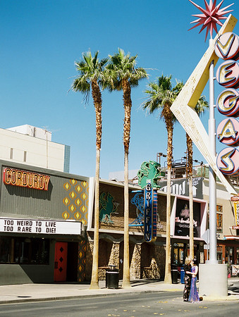 Fremont Street Las Vegas Wedding - multi-colored, sequin, fitted wedding gown - unconventional, colorful downtown Vegas elopement inspiration for artsy couples - Kristen Krehbiel - Kristen Kay Photography - Las Vegas Wedding and Elopement Photographer