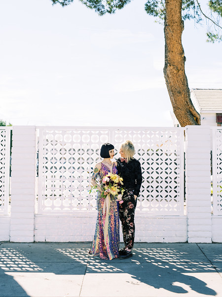 Mid-Century Modern Wedding - multi-colored, sequin, fitted wedding gown - unconventional, colorful downtown Vegas elopement inspiration for artsy couples - Kristen Krehbiel - Kristen Kay Photography - Las Vegas Wedding and Elopement Photographer