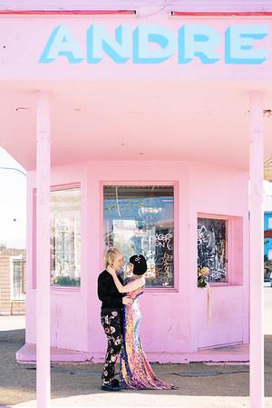 Pink Andre building downtown Las Vegas - elopement reception venue - multi-colored, sequin, fitted wedding gown - unconventional, colorful downtown Vegas elopement inspiration for artsy couples - Kristen Krehbiel - Kristen Kay Photography - Las Vegas Wedding and Elopement Photographer
