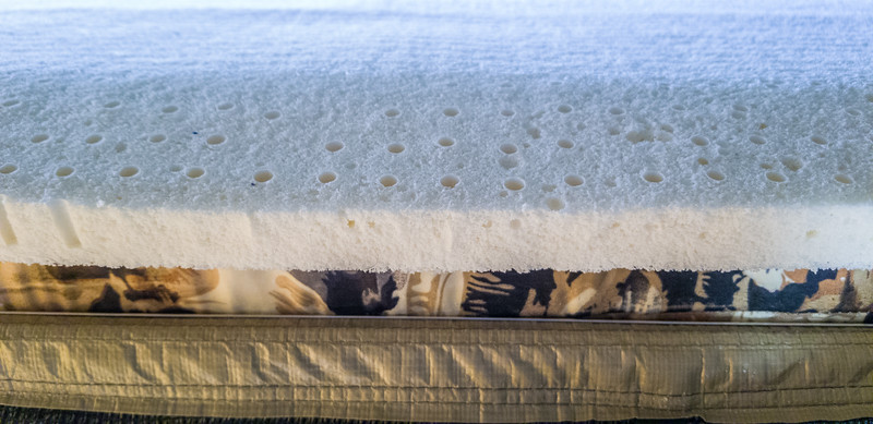 Sleep on Latex 1 inch soft mattress topper in Globe Tracker trailer tent