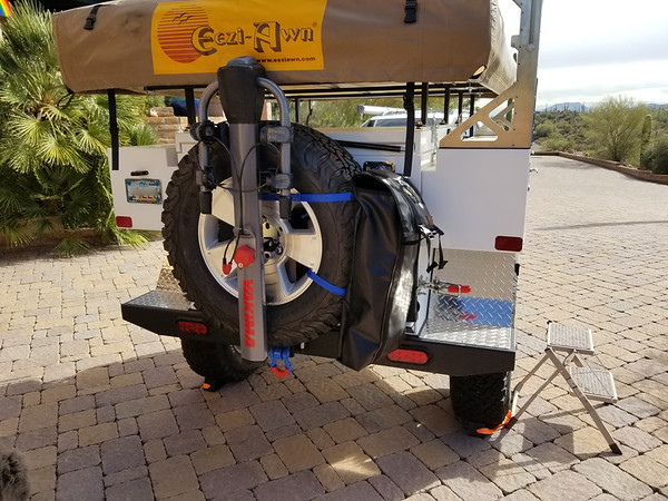 Spare Tire Mount with Yakima Bike Rack and Trash Bag