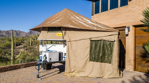 Eezi-Awn Globe Tracker Trailer Roof Top Tent Deployed