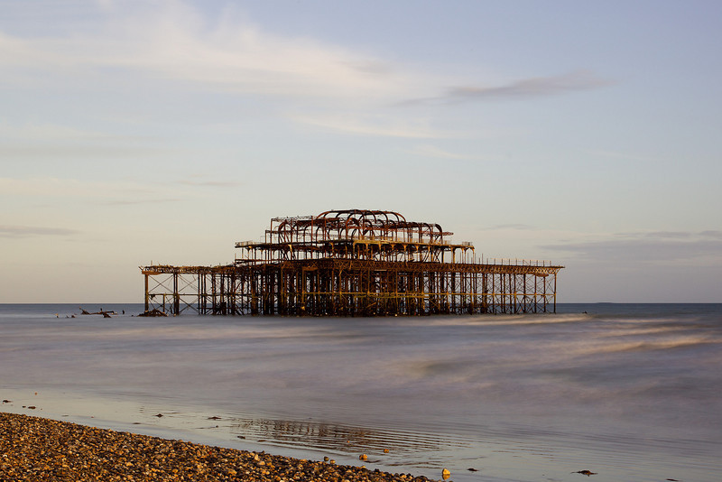 Brighton`s West pier at low tide