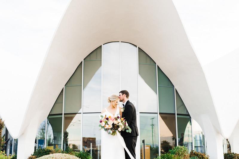 The Neon Museum - a mid century modern, unique Las Vegas wedding venue //  Kristen Krehbiel - Kristen Kay Photography // Bouquet by Cultivate Goods // black tux and knee length gown // #bouquet #colorful #classic