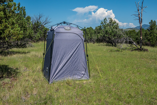 CVT shower/toilet tent. Four Bar Mesa, Greenlee County, Arizona USA