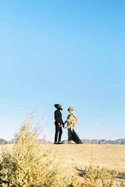 Halloween, fall desert elopement inspiration with black and gold details - Kristen Kay Photography - Las Vegas, Palm Springs Desert Elopements | Dried floral bouquet by Mylofleur | #halloween #elopement #blacklips #gold #driedbouquet #fallwedding
