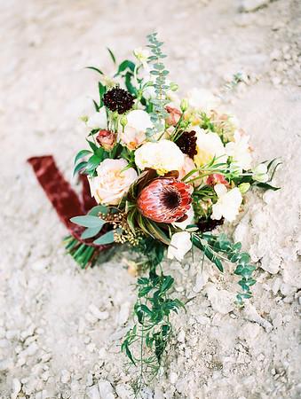 bridal bouquet with protea, scabiosa, eucalyptus and garden roses - Rooted Willow // desert elopement in Las Vegas - Mt. Charleston // Las Vegas Elopement  & Intimate Wedding Photographer - Kristen Krehbiel - Kristen Kay Photography