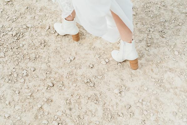 white lace-up boots with a brown heel for a Las Vegas desert elopement // Las Vegas Elopement  & Intimate Wedding Photographer - Kristen Krehbiel - Kristen Kay Photography
