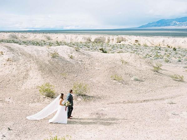 bridal gown with long cathedral veil by Robert Bullock // Las Vegas desert elopement // Las Vegas Elopement  & Intimate Wedding Photographer - Kristen Krehbiel - Kristen Kay Photography
