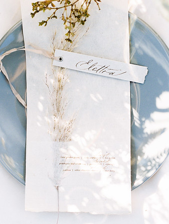 Caligraphy name cards - organic plants on minimal white menu card // Janna Brown Design // Kristen Krehbiel - Kristen Kay Photography - sunrise desert elopement in Las Vegas