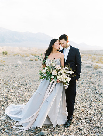 Las Vegas Elopement at Sunrise - Carol Hannah Bridal Gown - oversized organic bridal bouquet with desert plants, white garden roses and blush pink roses //  Janna Brown Design // Kristen Krehbiel - Kristen Kay Photography