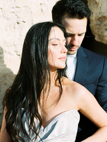 Las Vegas Desert Sunrise Elopement // direct sunlight portrait -- Carol Hannah Bridal Gown -- sweetheart neckline // Janna Brown Design // Kristen Krehbiel - Kristen Kay Photography