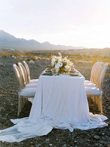 Janna Brown Design table setting // Kristen Krehbiel - Kristen Kay Photography // blush linens with blue accents desert elopement at sunrise in Las Vegas