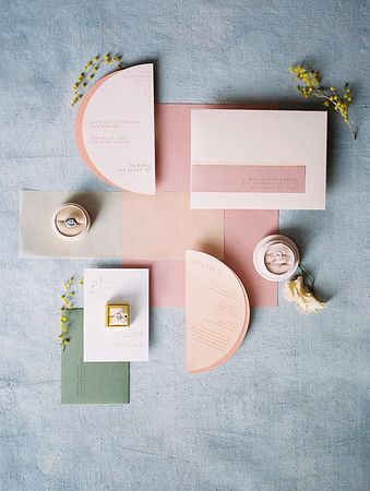 modern geometric wedding suite - pinks and blues - The Doyle - A Modern and Industrial Las Vegas Wedding Venue - Kristen Krehbiel - Kristen Kay Photography - The Mrs Box - wedding rings