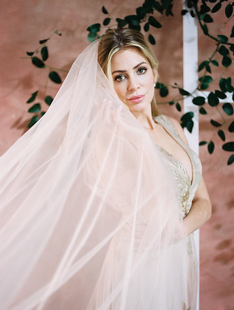 The Doyle - Las Vegas Wedding Venue - Kristen Krehbiel - Kristen Kay Photography - Carol Hannah Gown - Marjorie - with long veil