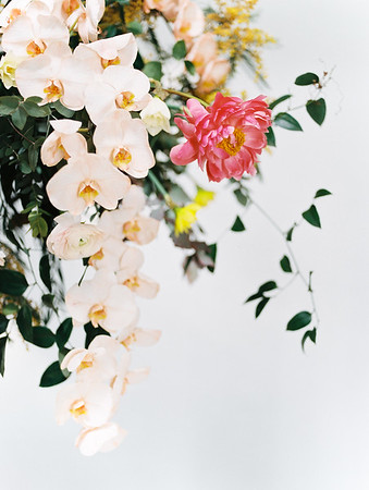 hanging floral installation with pink peony and orchids by Oak and Owl - The Doyle - Las Vegas Wedding Venue - Kristen Krehbiel - Kristen Kay Photography