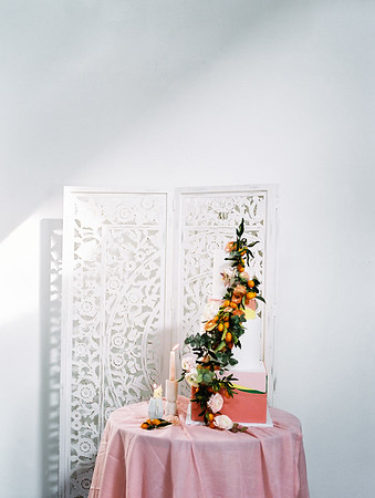 colorful wedding cake with kumquat - The Doyle - natural light, modern Las Vegas Wedding Venue - Kristen Krehbiel - Kristen Kay Photography
