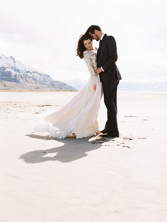 Leanne Marshall Gown for a Utah Elopement at the Salt Flats