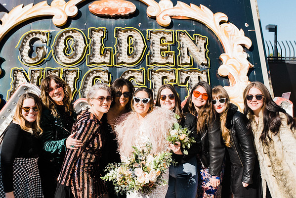 Neon Museum Las Vegas Wedding - Unique Wedding Locations - Kristen Kay Photography - view more from this rad, vintage Elvis inspired intimate wedding in colorful and fun Downtown Vegas -- #neonmuseum #vintage #elopement #neon #bridesmaids