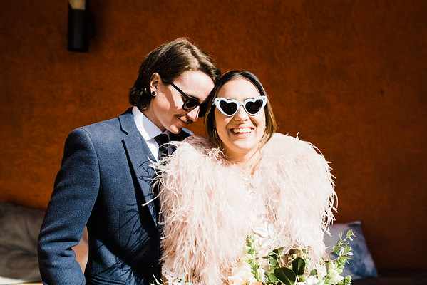 Oasis at The Gold Spike, Mid Century hotel in Downtown Vegas - Neon Museum Las Vegas Wedding - Unique Wedding Locations - Kristen Kay Photography - view more from this rad, vintage Elvis inspired intimate wedding in colorful and fun Downtown Vegas -- #neonmuseum #vintage #elopement #neon #suit #feathers #sunglasses