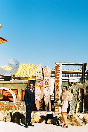 Neon Museum Las Vegas Wedding - Kristen Krehbiel - Kristen Kay Photography - Las Vegas Elopement Photographer - Get ideas from this rad Elvis inspired intimate wedding in Downtown Vegas. Featured on Bridal Musing - #neonmuseum #vintage #elopement #neon