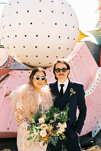 Neon Museum Las Vegas Wedding - Kristen Krehbiel - Kristen Kay Photography - Las Vegas Elopement Photographer - view more ideas from this rad Elvis inspired intimate wedding in Downtown Vegas -- Featured on Bridal Musing - #neonmuseum #vintage #elopement #neon