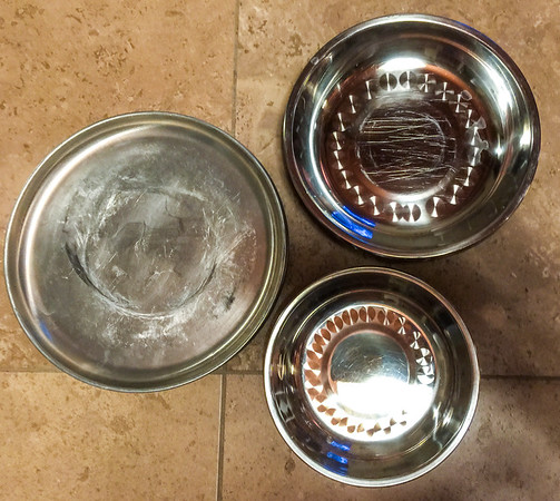 5 plates, 4 large & 4 small bowls all stainless steel