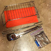 Camp fire tools: mini grill & case, large utensils, roasting sticks, & fire starter