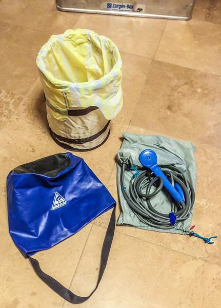pop up trash bin, folding water bucket, & DC shower sprayer