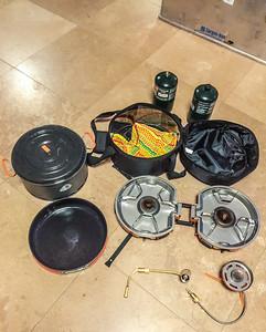 Jetboil Gensis basecamp two burner cook system with 5L pot , 10 in frying pan, lid, jetlink, & 1lb propane tanks