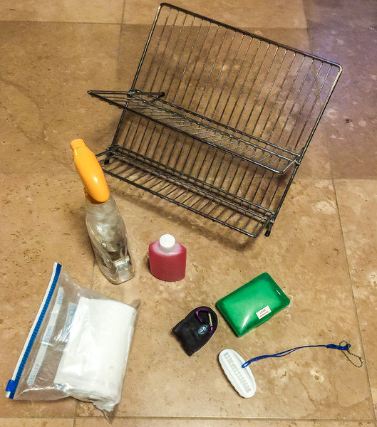 drying rack, cleaner, dish soap, lava bar soap and scrubber, clothes line, and trash bags