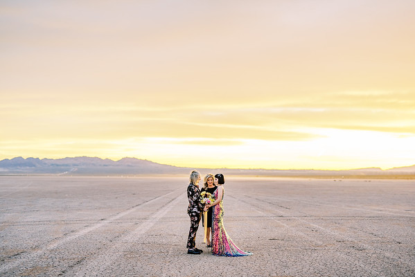 Las Vegas Elopement at sunrise - dry lake bed wedding - multi-colored sequin wedding gown and floral suit - colorful, artistic, and unconventional desert elopement - Kristen Krehbiel - Kristen Kay Photography - Las Vegas Wedding and Elopement Photographer