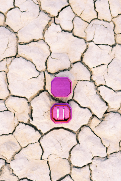 Pink Mrs. Ring Box - Las Vegas dry lake bed elopement at sunrise - colorful, artistic, and unconventional desert elopement - Kristen Krehbiel - Kristen Kay Photography - Las Vegas Wedding and Elopement Photographer