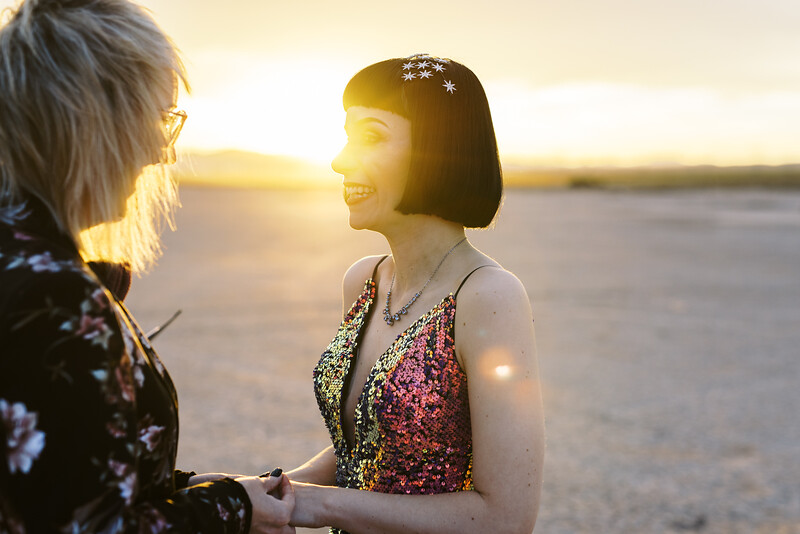 Las Vegas sunrise elopement - Dry Lake Bed wedding - multi-colored sequin wedding gown and floral suit - colorful, artistic, and unconventional desert elopement - Kristen Krehbiel - Kristen Kay Photography - Las Vegas Wedding and Elopement Photographer