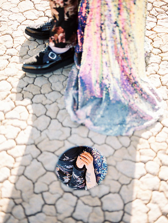 artistic mirror portrait - Las Vegas dry lake bed sunrise elopement - multi-colored, sequin, fitted, unconventional wedding gown - colorful, artistic, and unconventional desert elopement inspiration - Kristen Krehbiel - Kristen Kay Photography - Las Vegas Wedding and Elopement Photographer