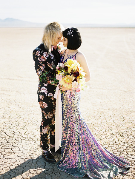 Las Vegas Dry Lake Bed sunrise elopement - multi-colored, sequin, fitted, unconventional wedding gown - colorful, artistic, and unconventional desert elopement inspiration for Australian couples - Kristen Krehbiel - Kristen Kay Photography - Las Vegas Wedding and Elopement Photographer