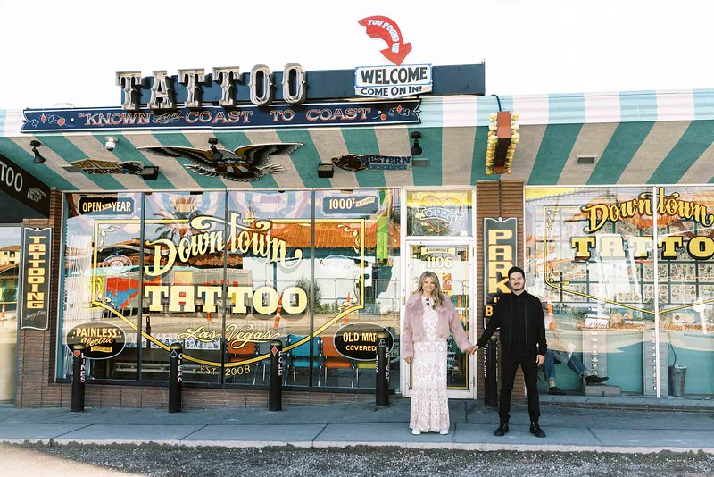view fun ideas for your unique DOWNTOWN LAS VEGAS ELOPEMENT with KRISTEN KAY PHOTOGRAPHY - get spontaneous, matching tattoos with your love | #elopement #tattoos #tatted #inked #downtown #lasvegas