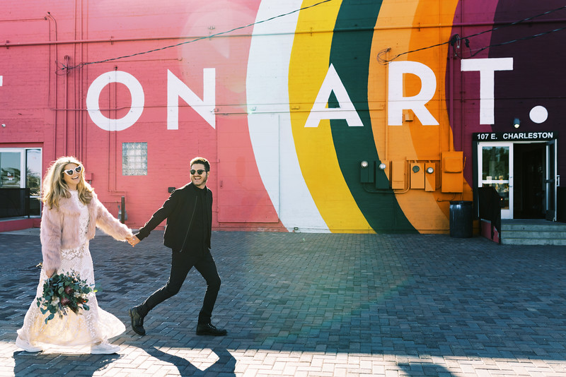 Fun elopement ideas for your unique Downtown Las Vegas Elopement  | Kristen Kay Photography - Las Vegas elopement photographer and Super 8 videographer | #elopement #pinkfur #art #mural #fun #beadedgown