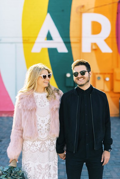 View more unique ideas for your Downtown Las Vegas Elopement - The Art's District mural walls in old Las Vegas | Kristen Kay Photography - Las Vegas elopement photographer and Super 8 videographer | #elopement #pinkfur #art #mural #uniquewedding #bohogown