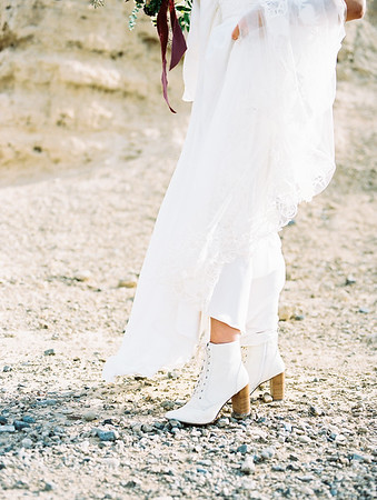 white lace-up boots - bridal gown with long cathedral veil by Robert Bullock // Las Vegas desert elopement // Las Vegas Elopement  & Intimate Wedding Photographer - Kristen Krehbiel - Kristen Kay Photography